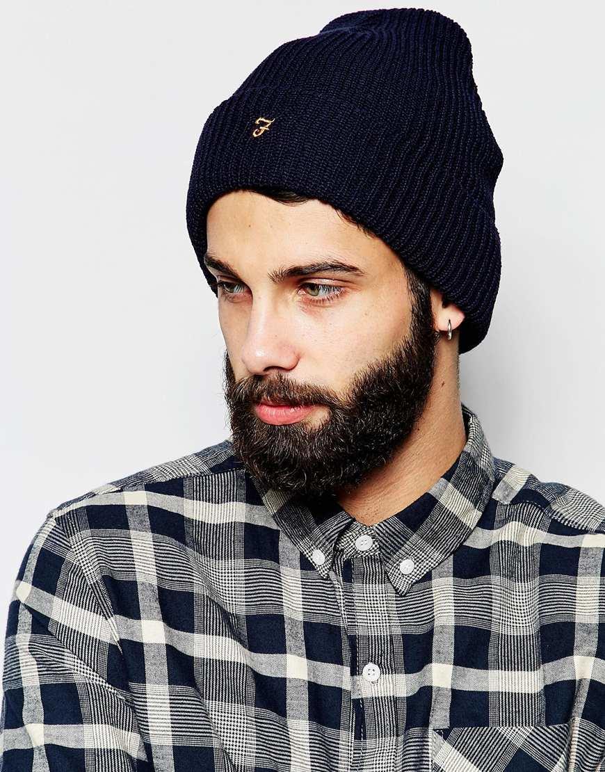 31bdb4cca79 Lyst - Farah Croxley Beanie Hat in Blue for Men