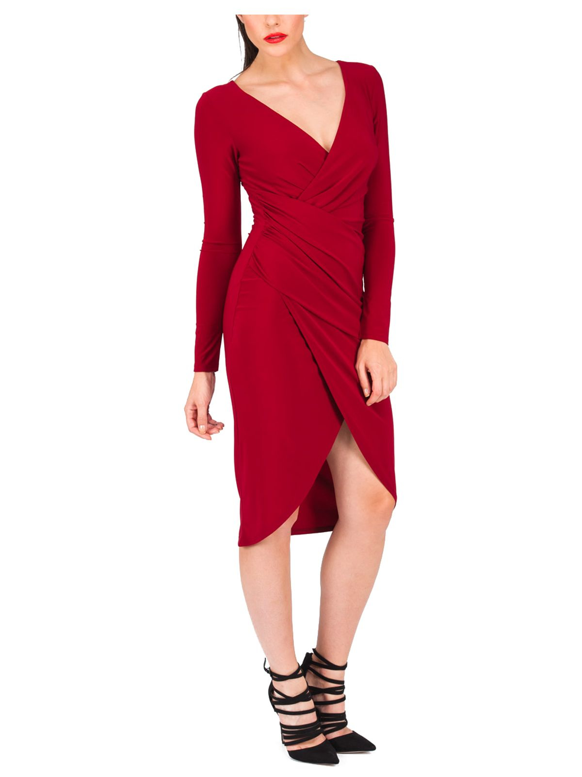 Jane norman Long Sleeve Ruched Wrap Dress in Red | Lyst