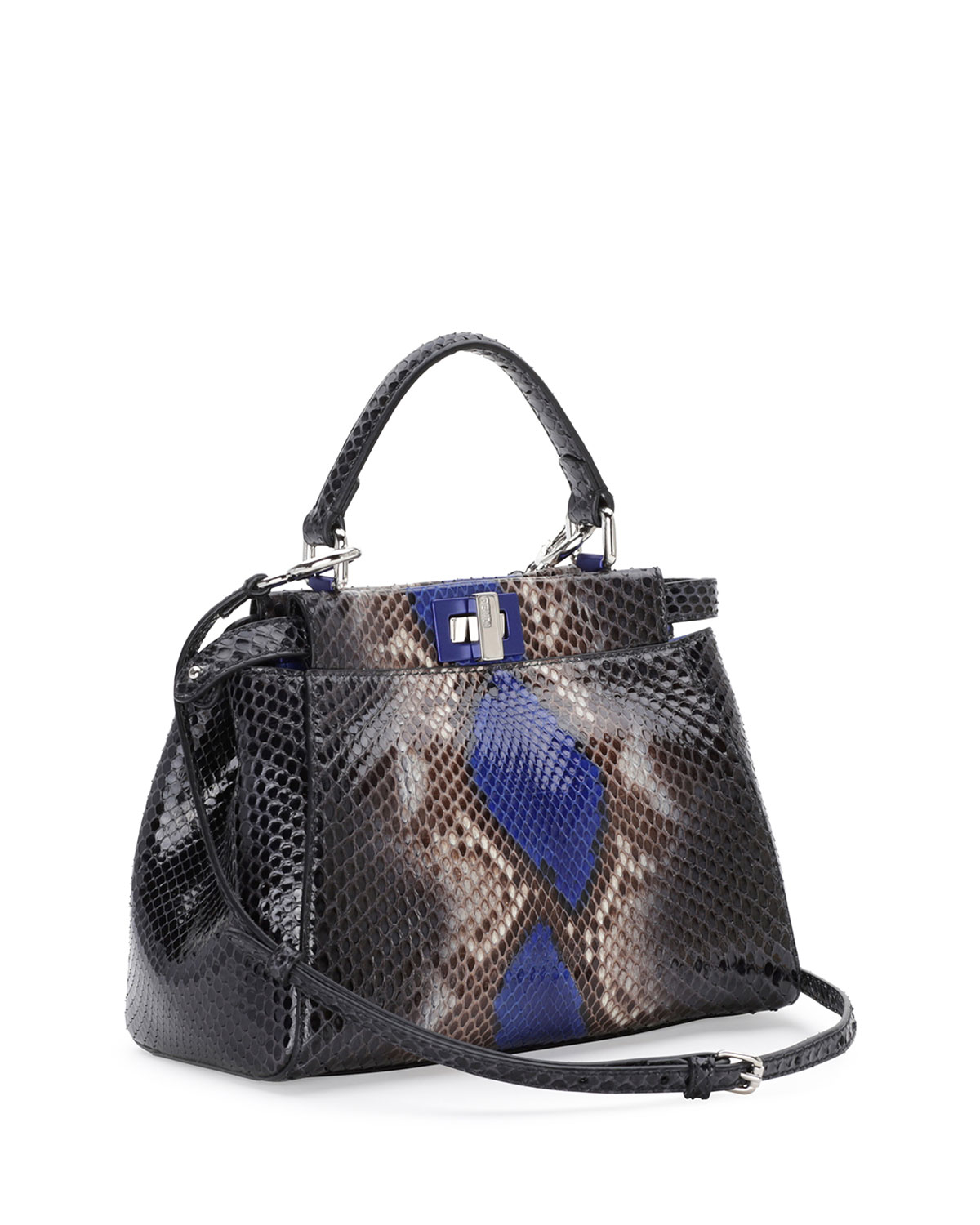 1e32a547 Fendi Blue Peekaboo Mini Python Satchel Bag