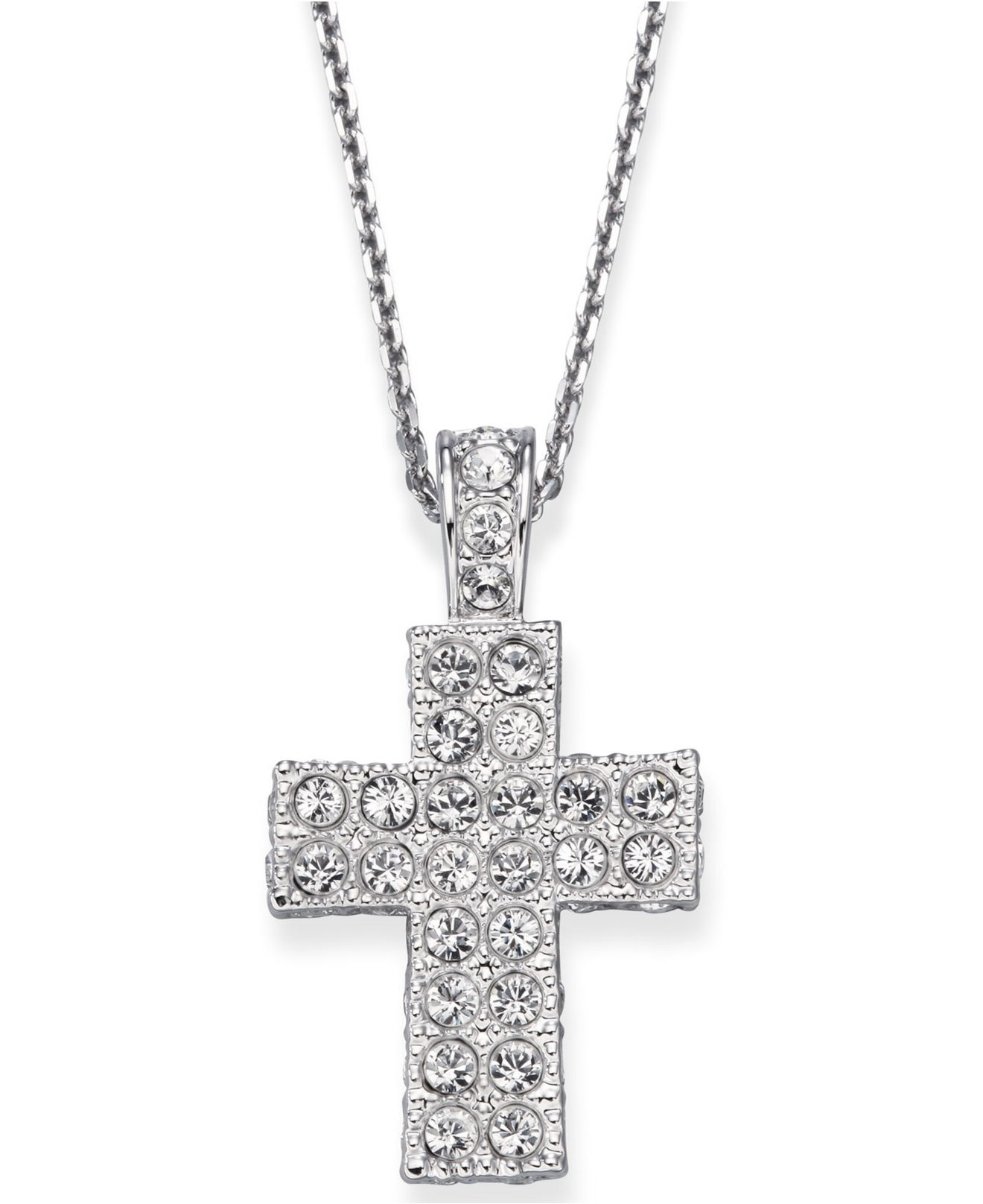 Lyst swarovski crystal pave cross in natural gallery previously sold at macys womens swarovski crystal necklace aloadofball Choice Image