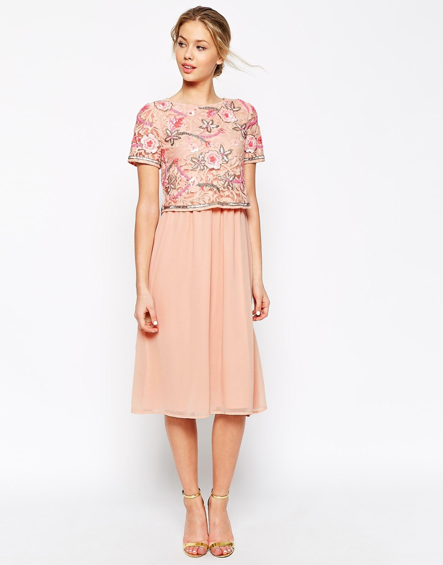 Lyst - Frock and Frill 2 In 1 Embellished Top Midi Skater Dress With ... 9aa132853