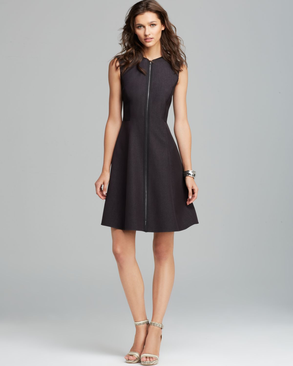 Lyst T Tahari Tristen Zip Front Dress In Gray