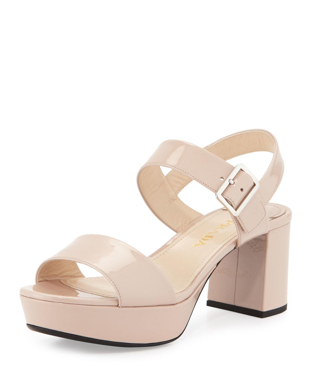 Patent leather plateau sandals Prada P07B65