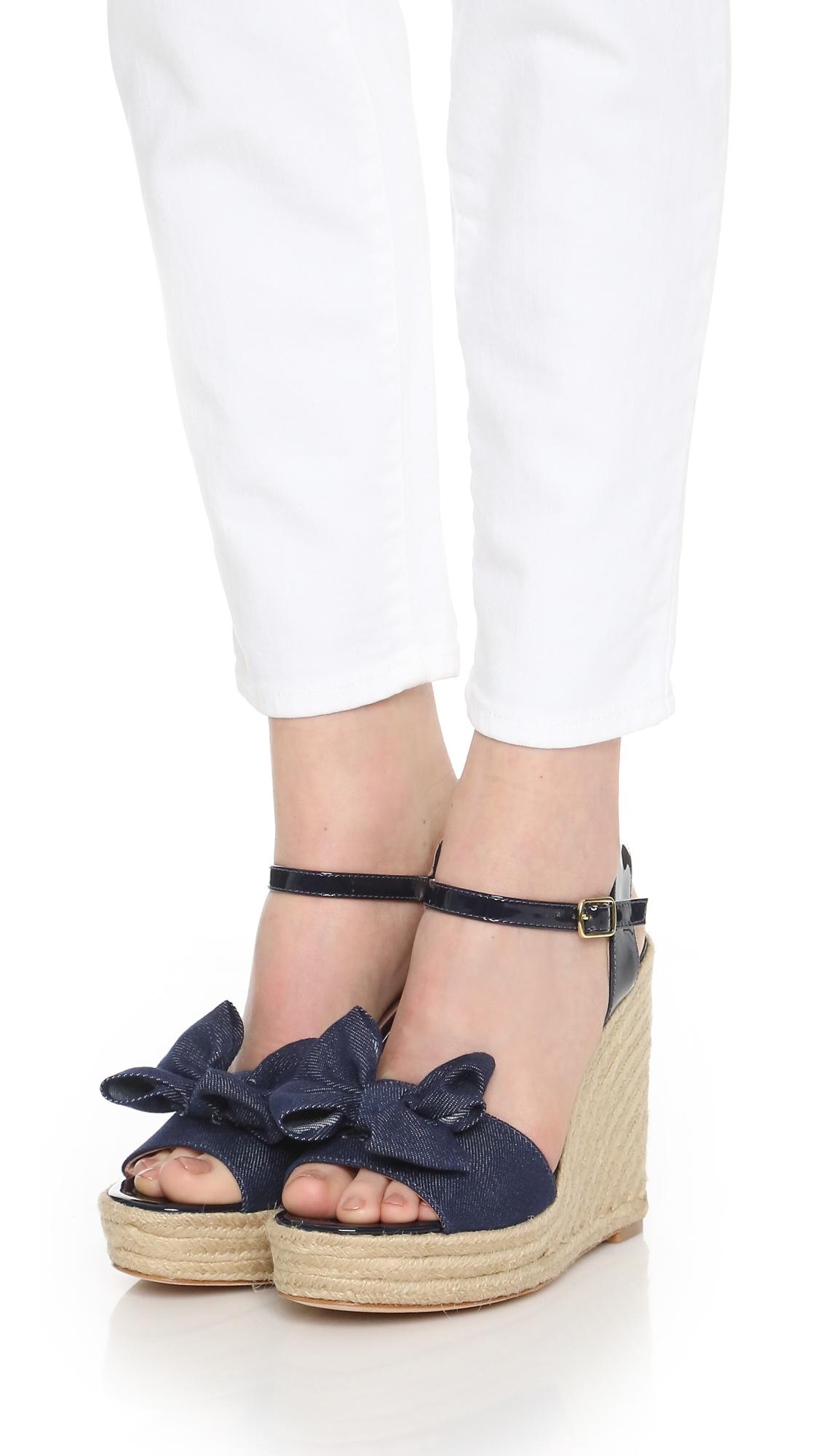 Kate Spade Darya Espadrille Wedge Sandals In Blue Lyst
