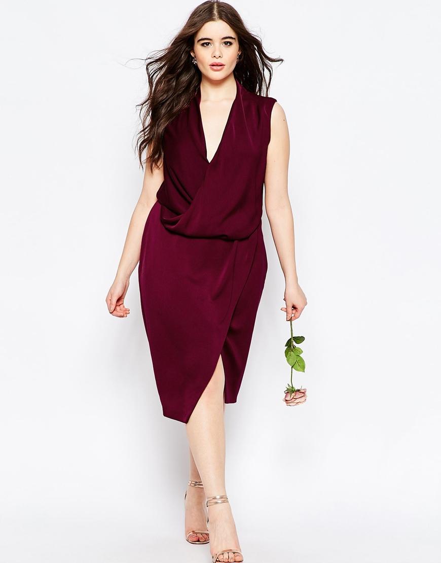 bf81e0995330 ASOS Wedding Cowl Midi Dress in Red - Lyst