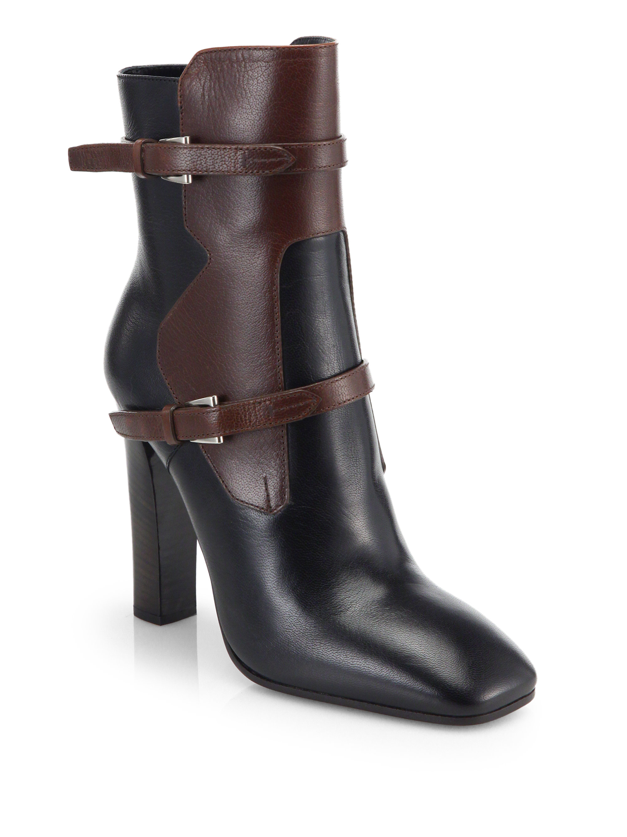 Prada Two-Tone Leather Ankle Boots in Brown | Lyst