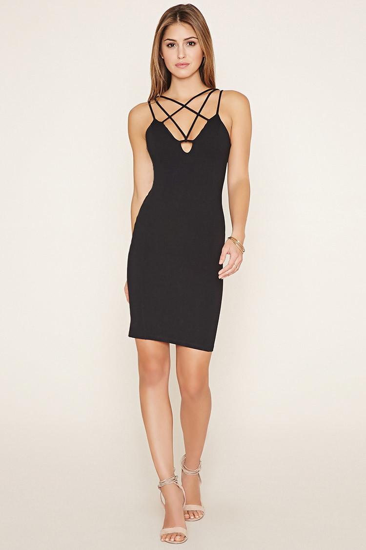 Lyst Forever 21 Crisscross Front Mini Dress In Black