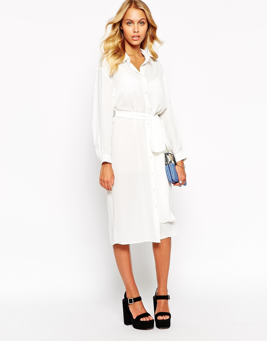 21f0c172d366 Lyst - Love Belted Midi Shirt Dress in White