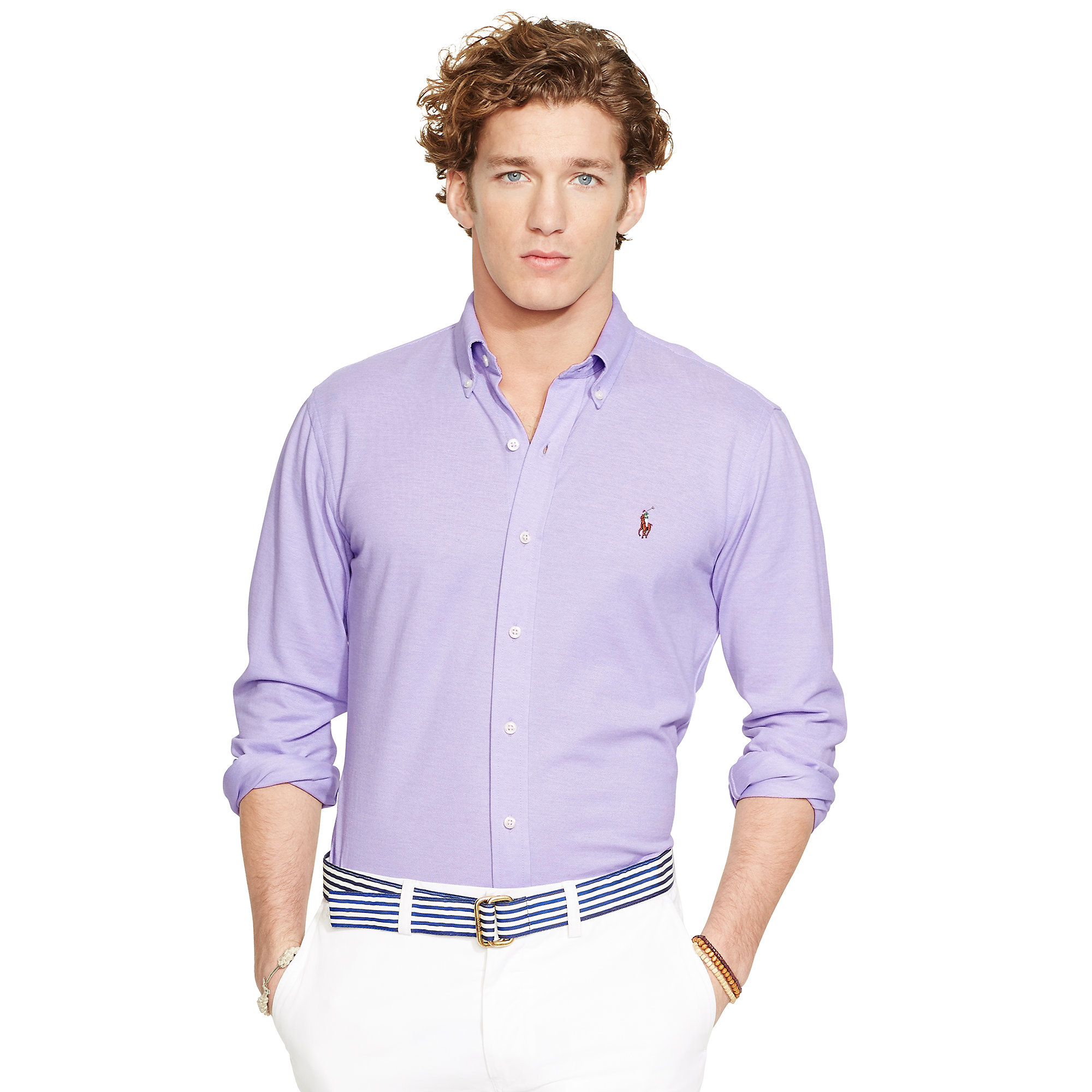 8a0c4d8e30f83 Lyst - Polo Ralph Lauren Knit Oxford Shirt in Purple for Men