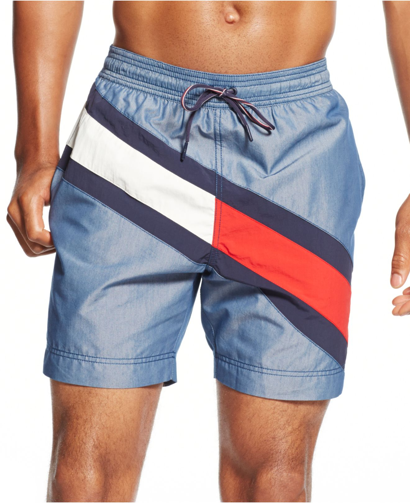 e1d67515f0ac14 Lyst - Tommy Hilfiger Logo Stripe Swim Trunks in Blue for Men
