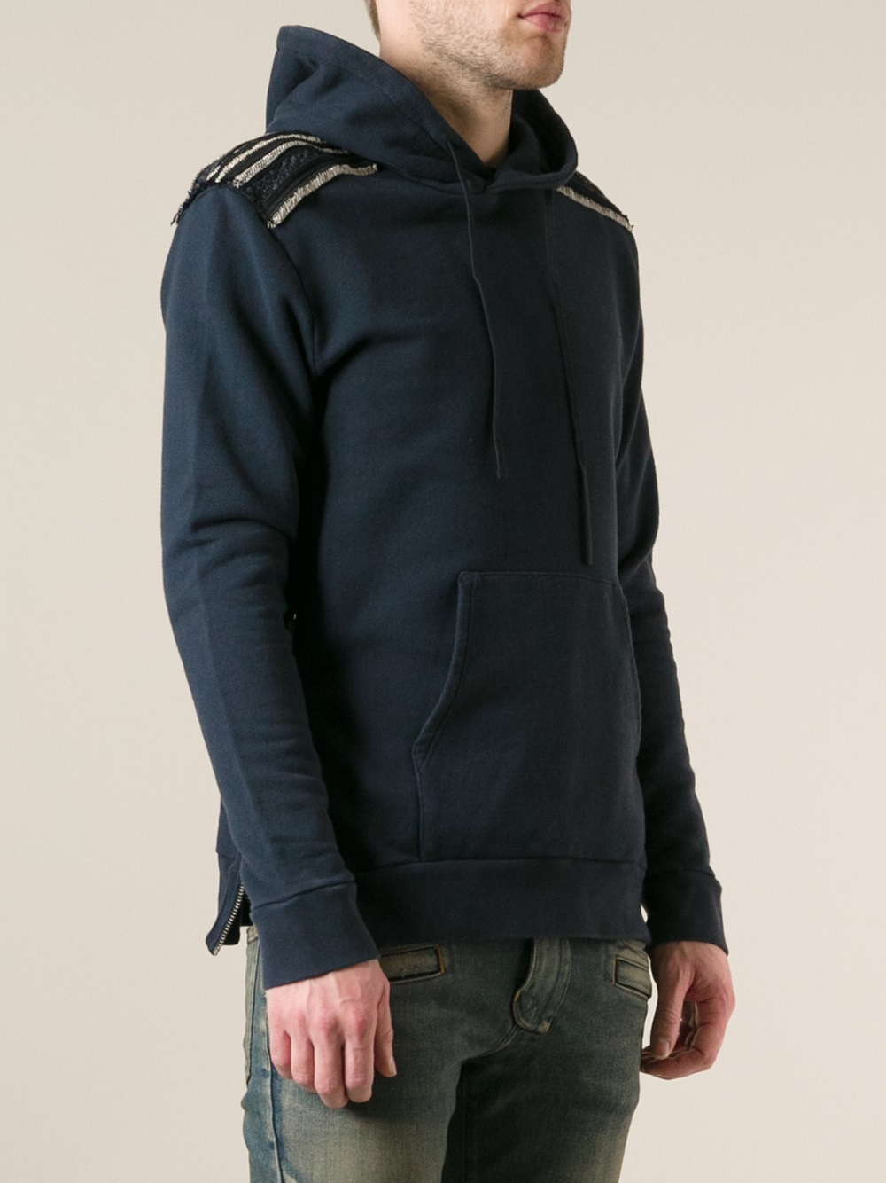 Balmain Seam Detail Hoodie in Blue for Men