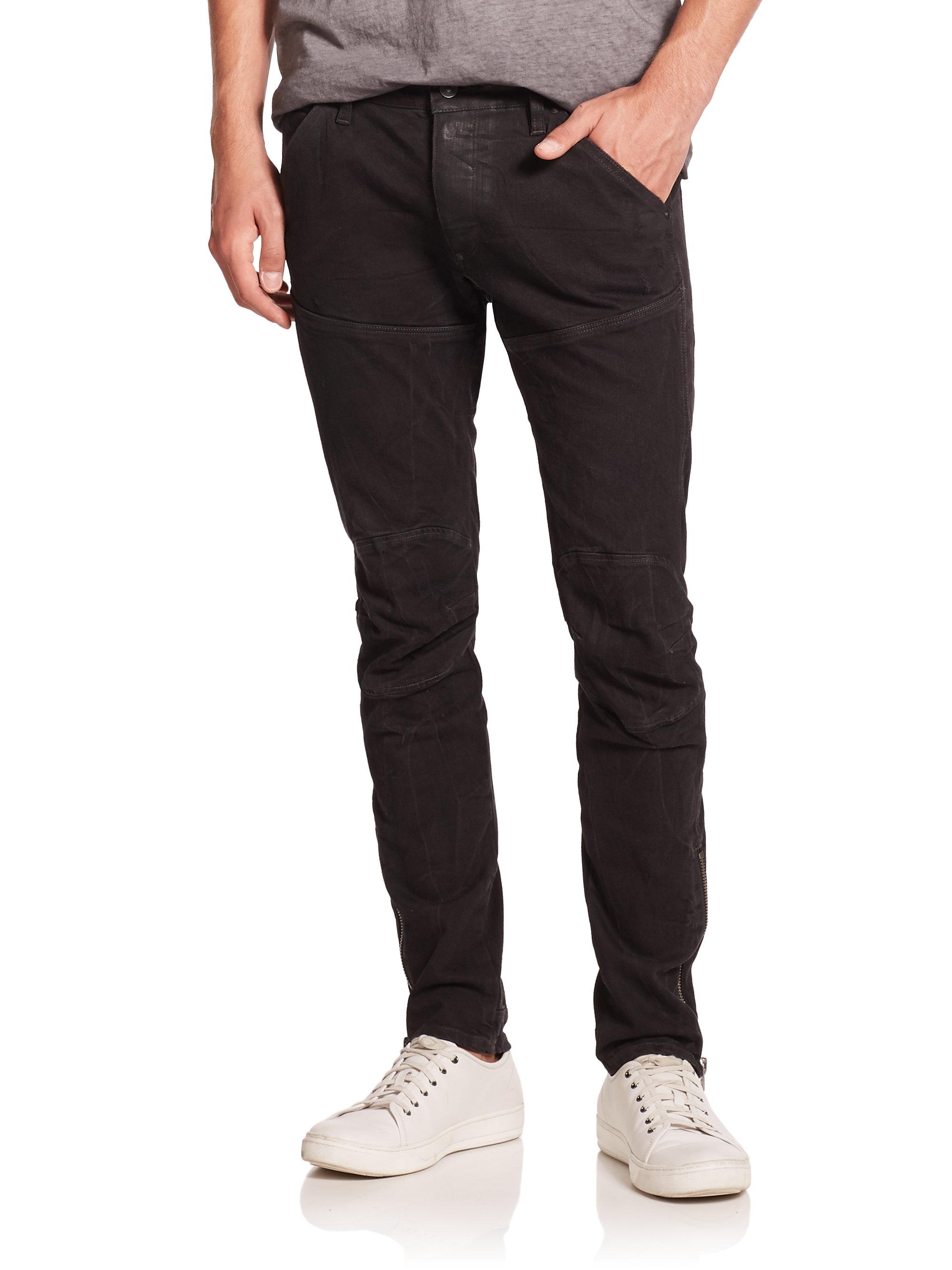 g star raw super slim fit moto jeans in black for men lyst. Black Bedroom Furniture Sets. Home Design Ideas