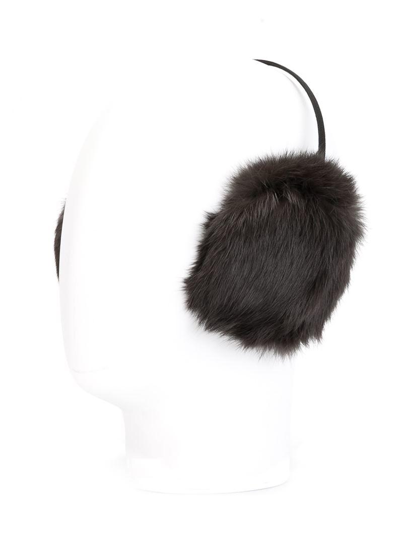 4bc63bbd037 Lyst - Yves Salomon Rabbit Fur Ear Muffs in Black