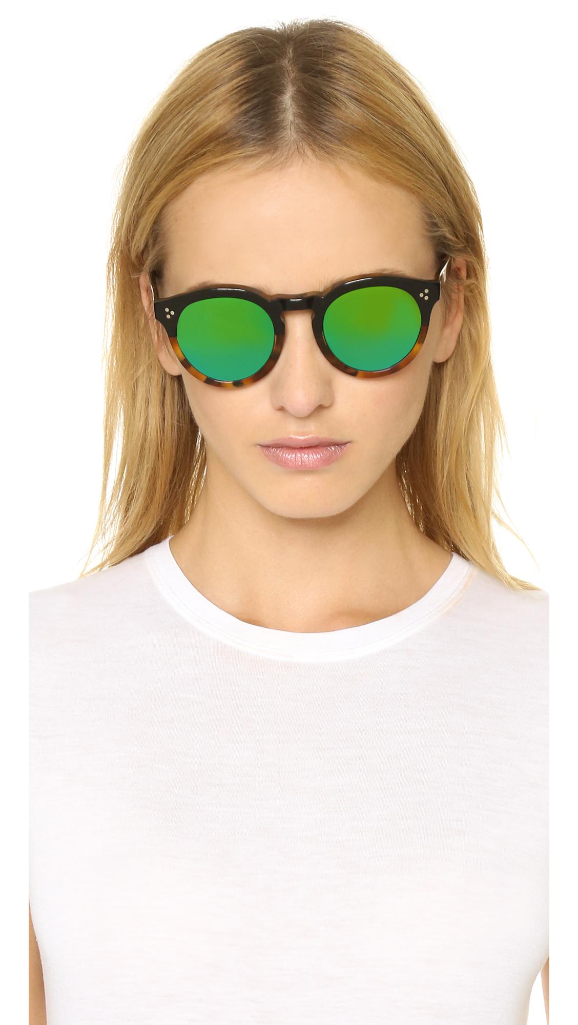 Illesteva Leonard Ii Half And Half Mirrored Sunglasses - Black Light Tortoise/green