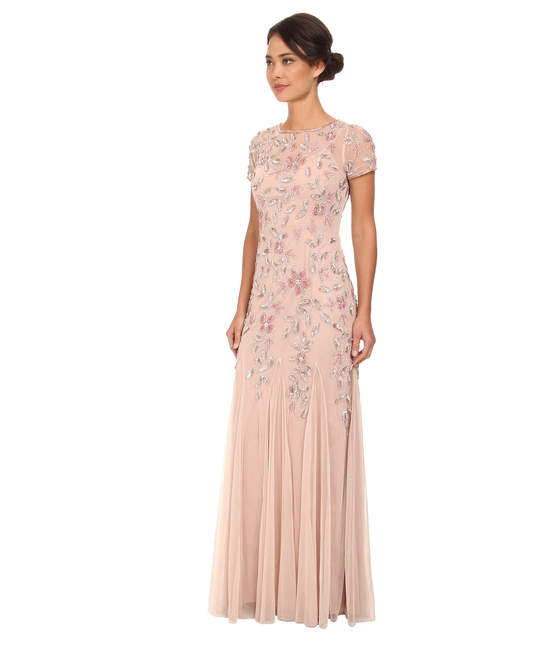Lyst - Adrianna Papell Floral Beaded Godet Gown in Pink