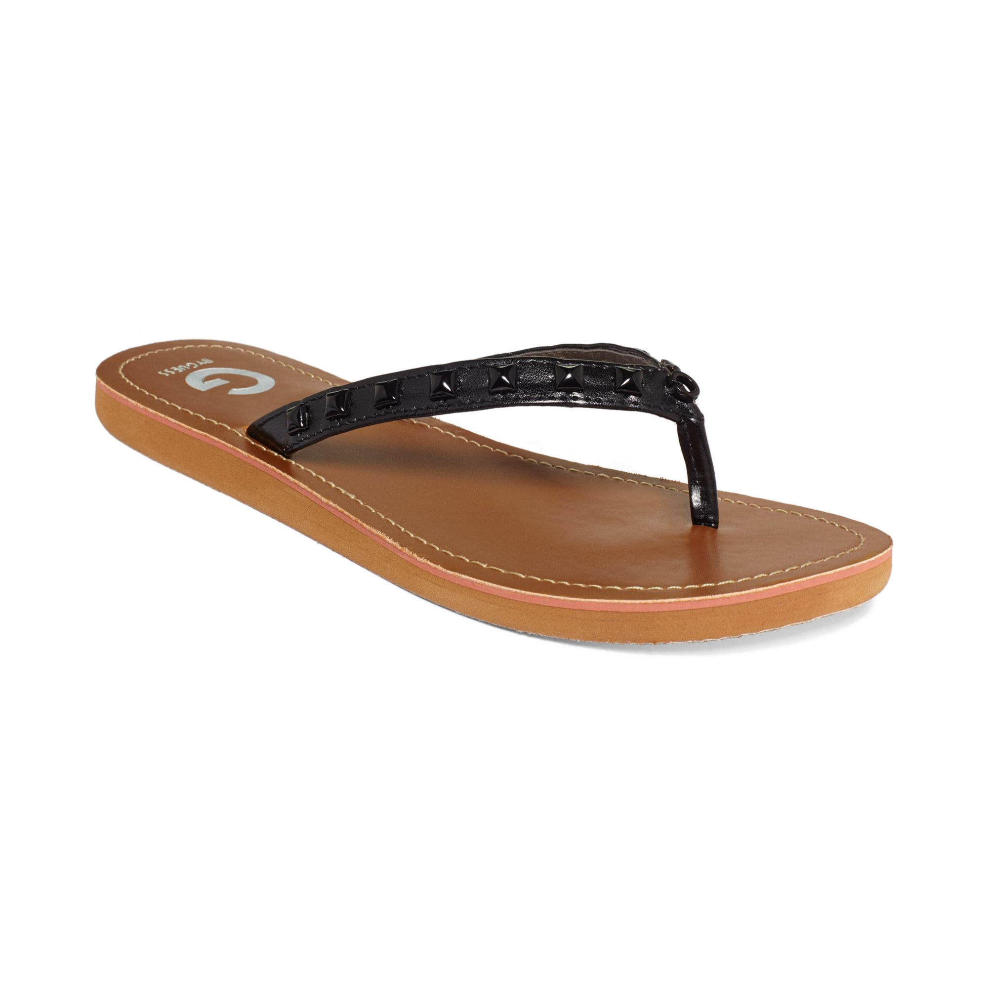 7059cd0a768806 Lyst - G by Guess Womens Kendrah Studded Flip Flops in Black