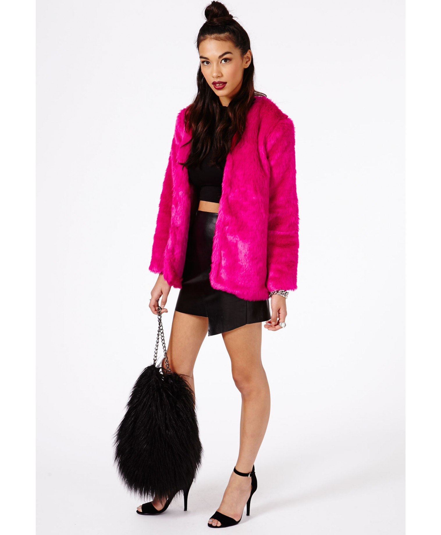 Missguided Magdelena Faux Fur Coat in Pink | Lyst