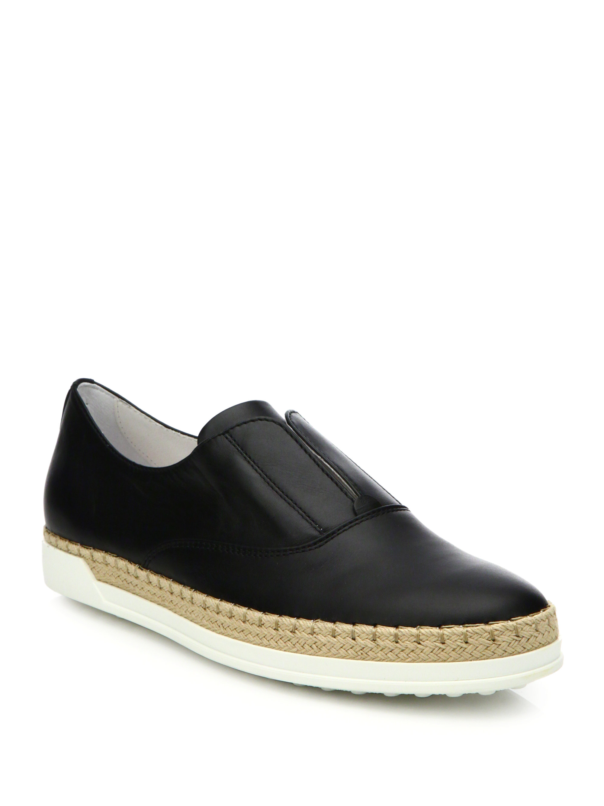 Lyst Tod S Laceless Leather Espadrille Sneakers In Black