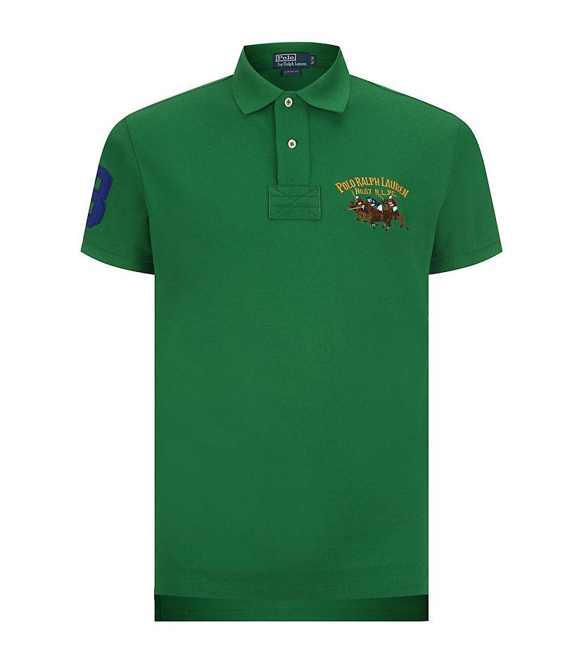 Lyst polo ralph lauren custom fit triple pony polo shirt for Custom tailored polo shirts