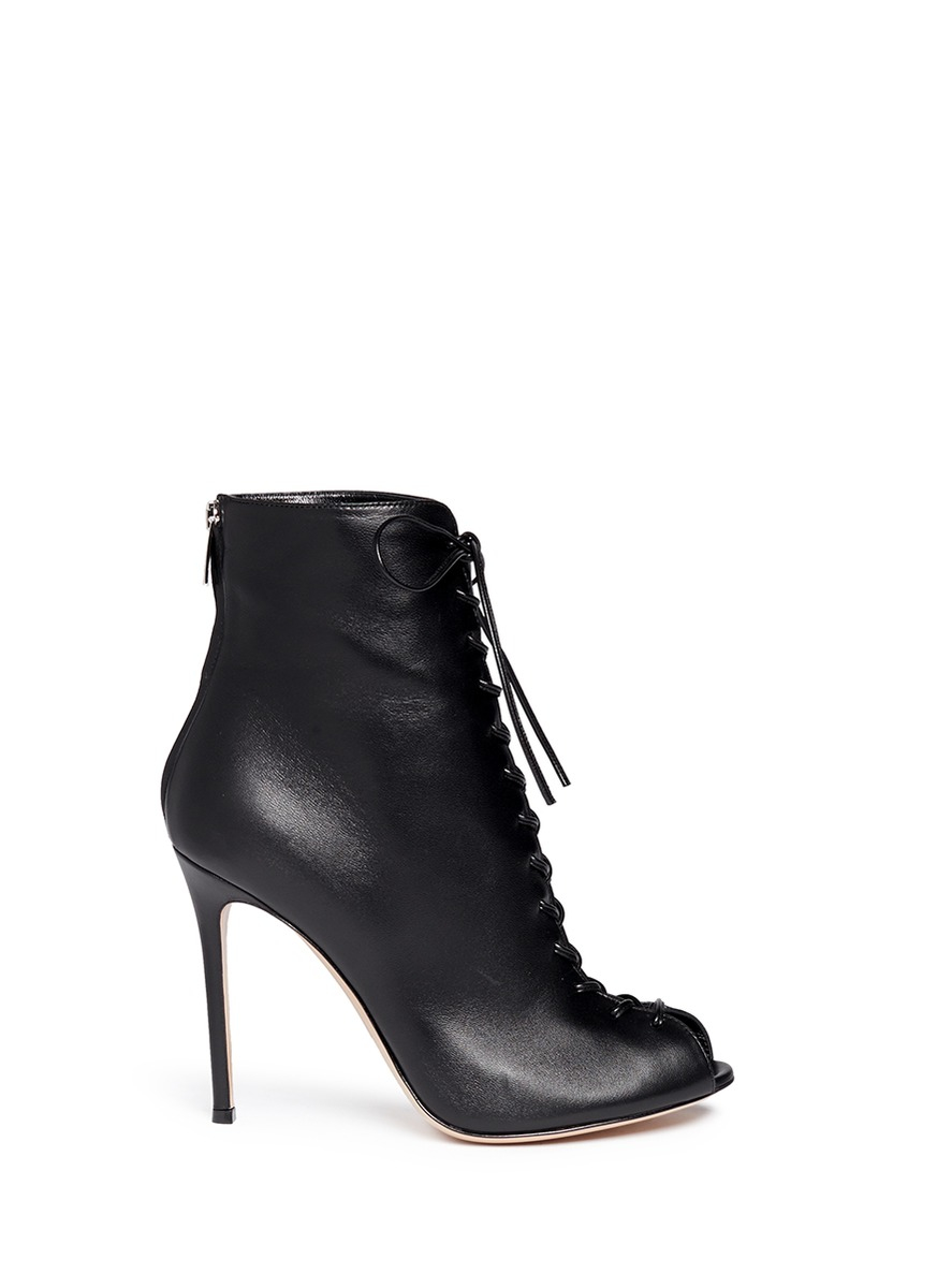 gianvito corset lace up leather peep toe boots in