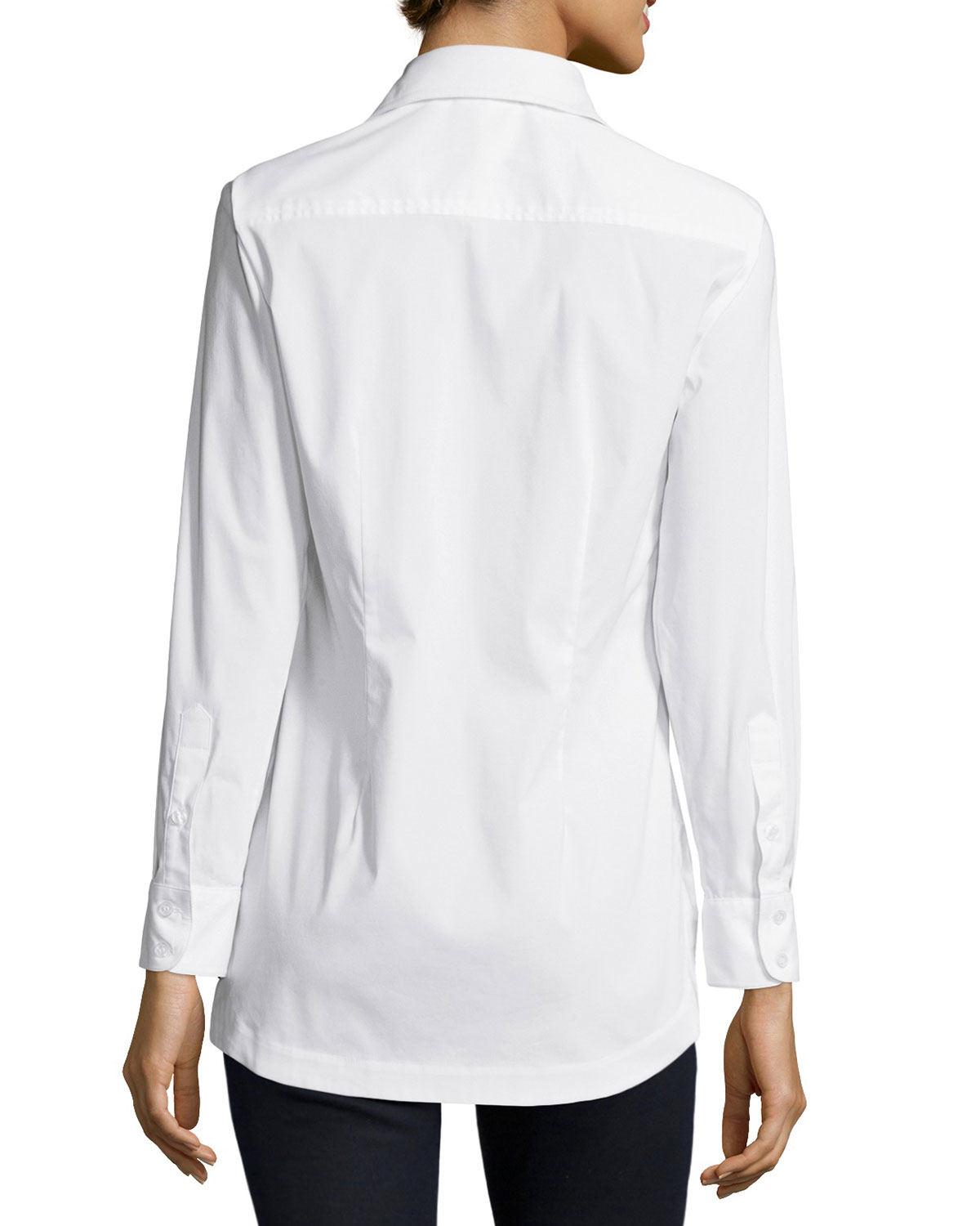 deda32e52b28df Finley Joey Tailored Long-sleeve Blouse in White - Lyst