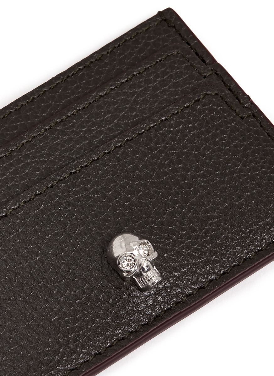the best attitude 6002f cac88 Alexander McQueen Green Skull Leather Card Holder