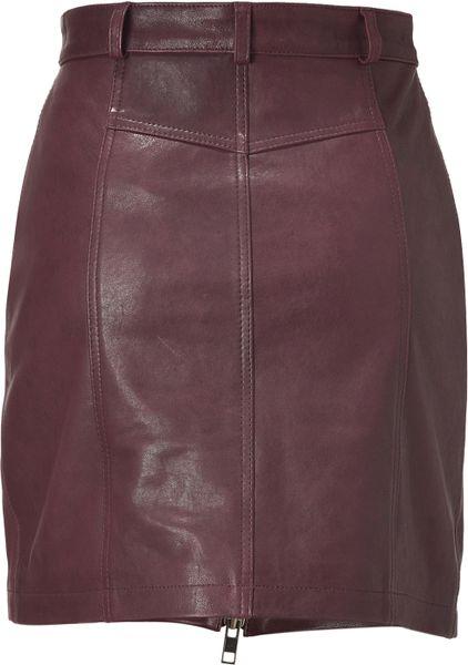 Mcq By Alexander Mcqueen Oxblood Zip Leather Pencil Skirt