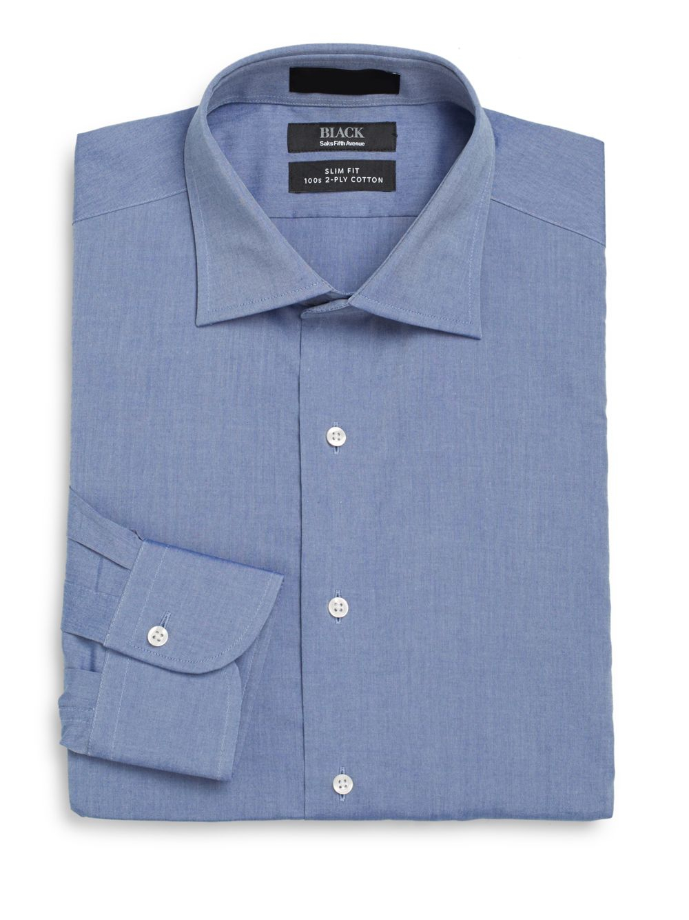 Lyst saks fifth avenue black label slim fit chambray two for 2 ply cotton dress shirt