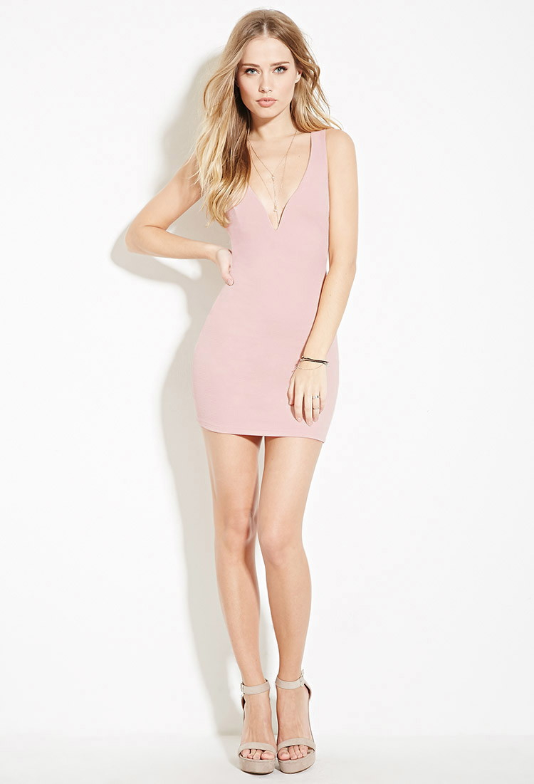 Lyst - Forever 21 Strappy-back Bodycon Mini Dress in Pink - photo #3