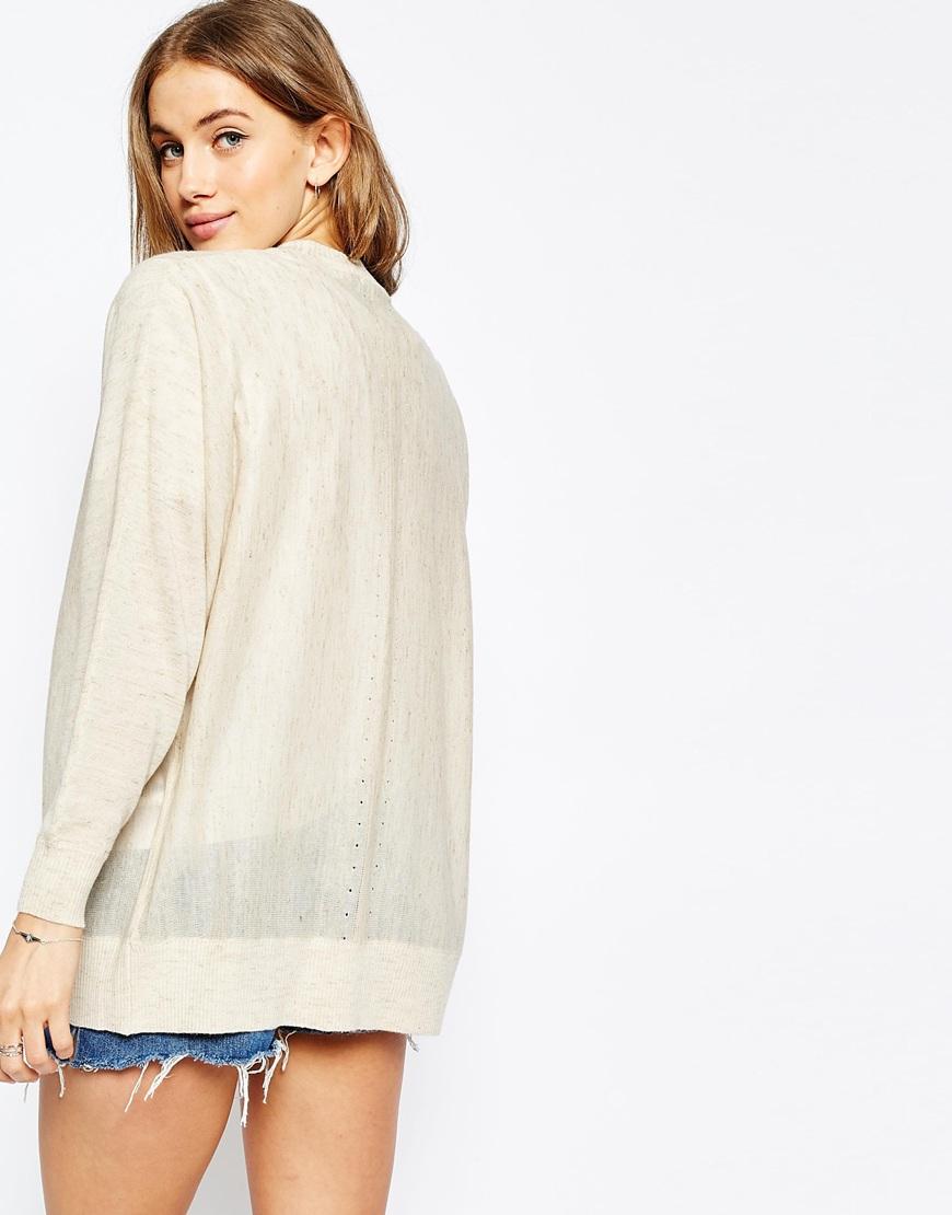 b2d5f70ca996 Lyst - ASOS Fine Cardigan In Linen Mix Yarn