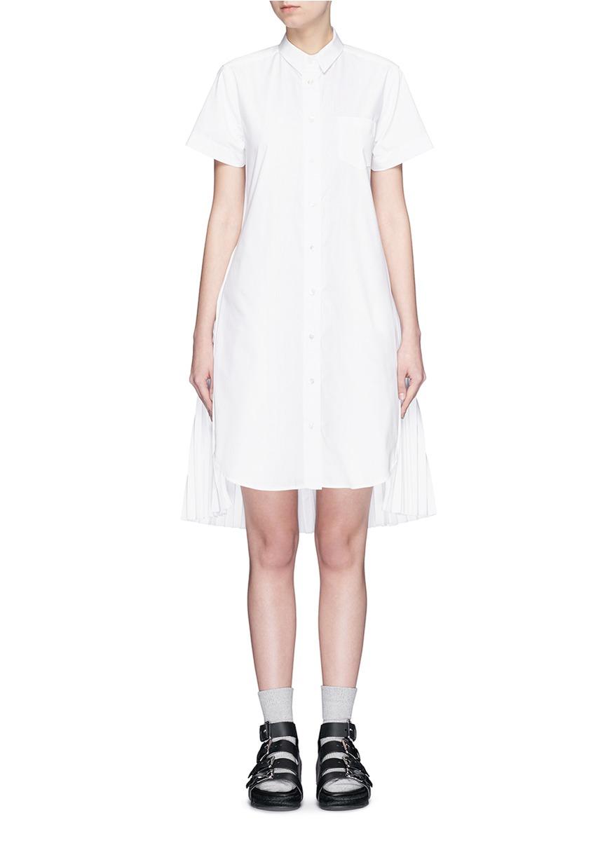 Lyst Sacai Open Back Pleat Skirt Poplin Shirt Dress In White