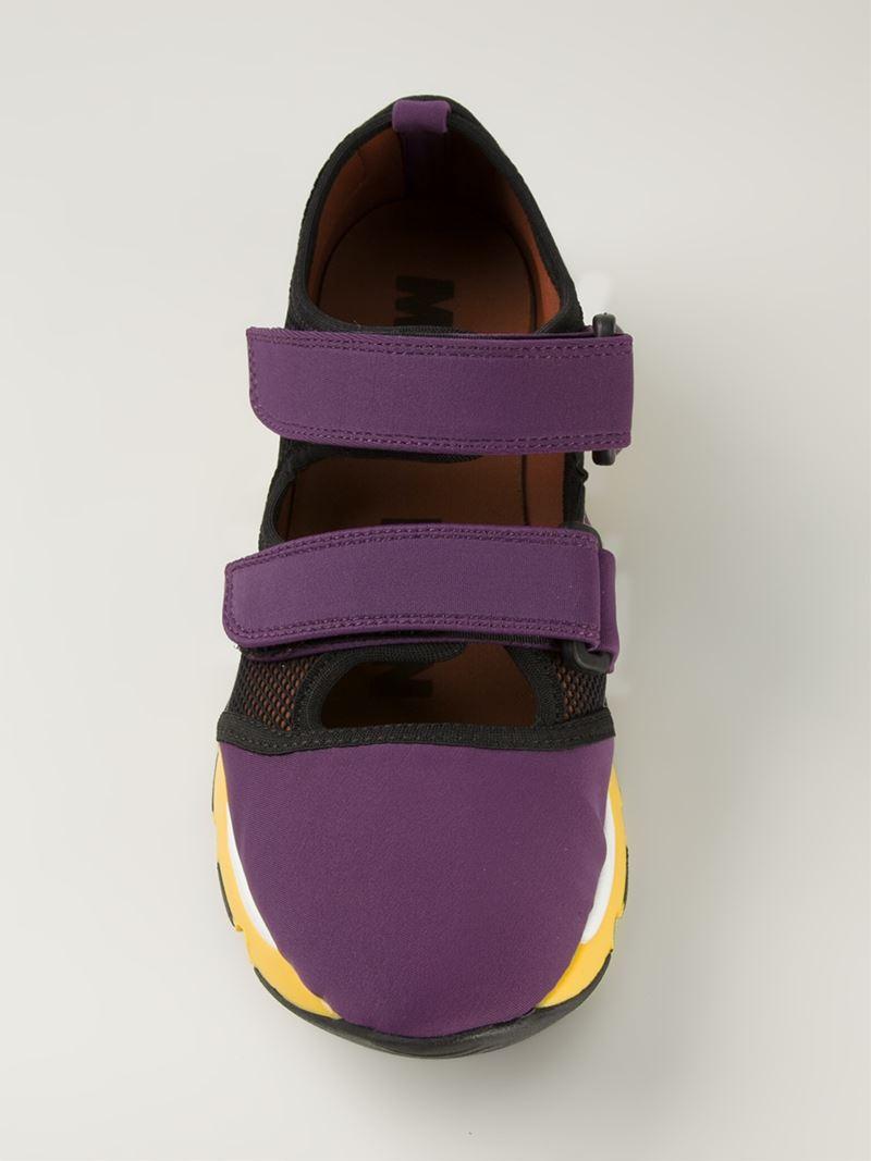 Marni Velcro Fastening Sneakers in Pink & Purple (Purple)
