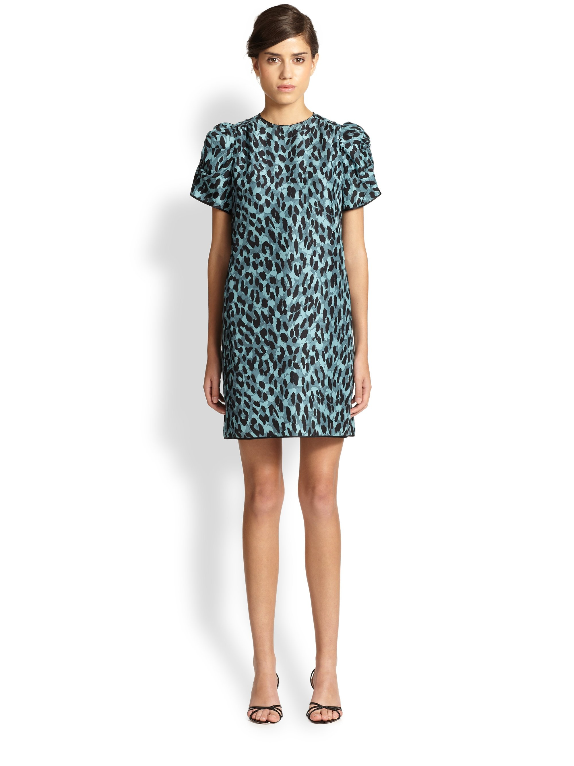 Marc jacobs Silk Leopard-Print Dress in Blue  Lyst
