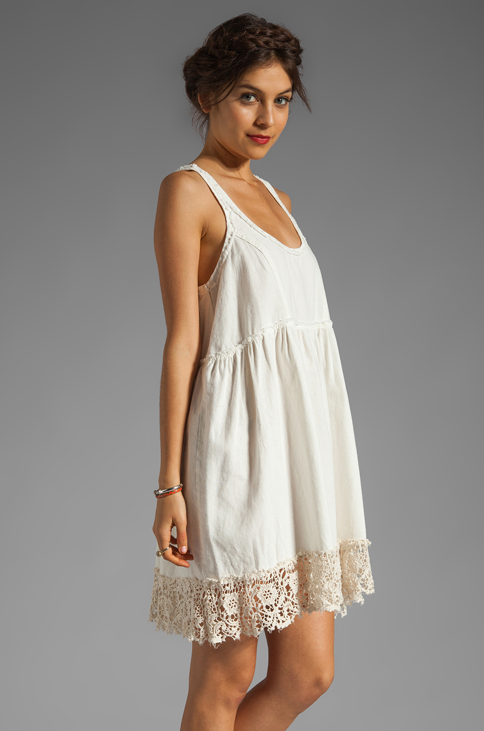 Lyst Free People Linen Babydoll Dress In Natural