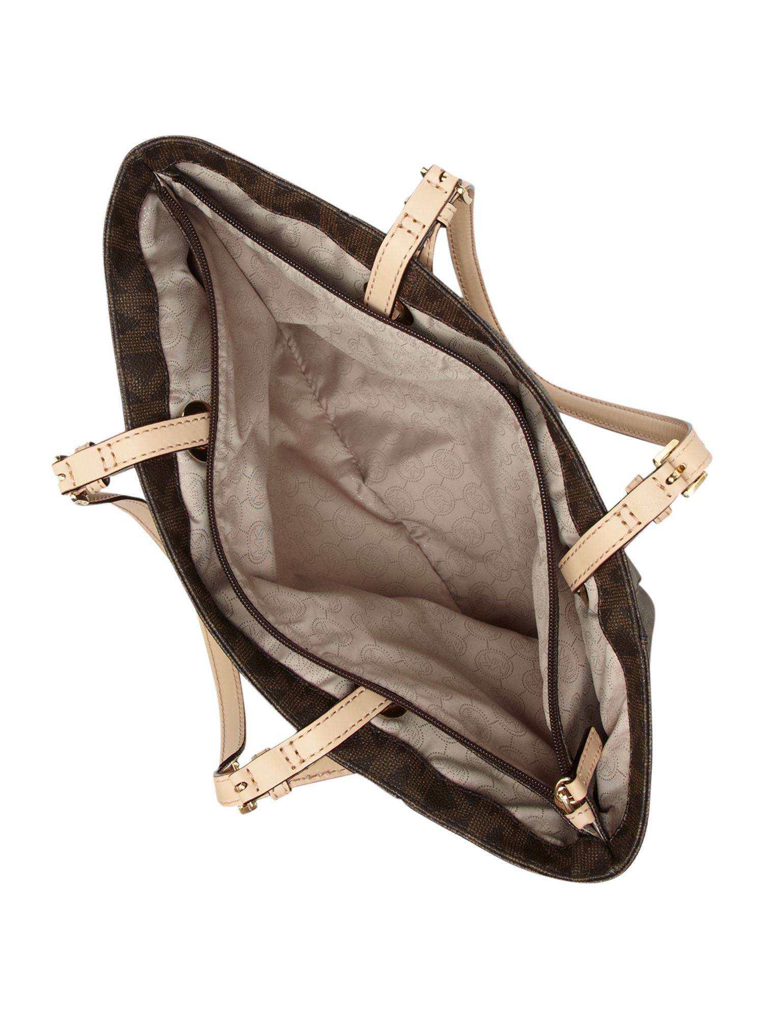 michael kors jet set item monogram tote in brown lyst. Black Bedroom Furniture Sets. Home Design Ideas