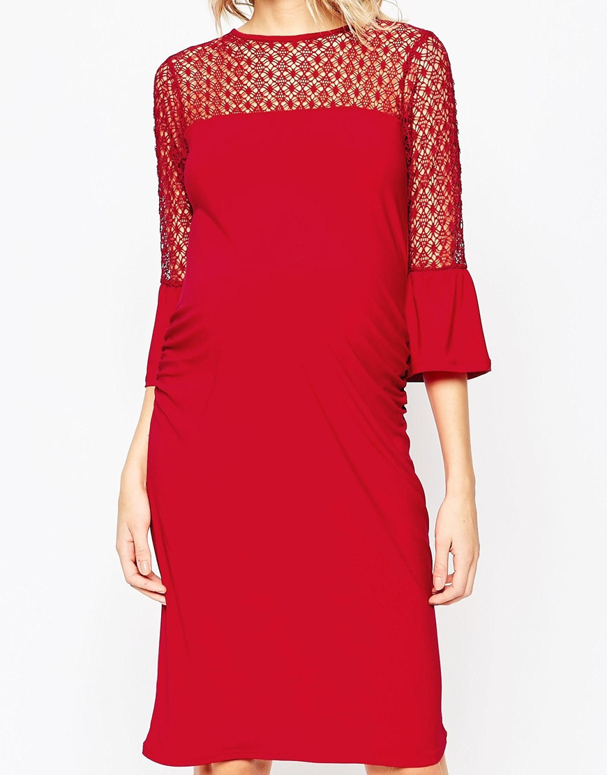 Bluebelle Maternity Lace Insert Bodycon Dress In Red Lyst