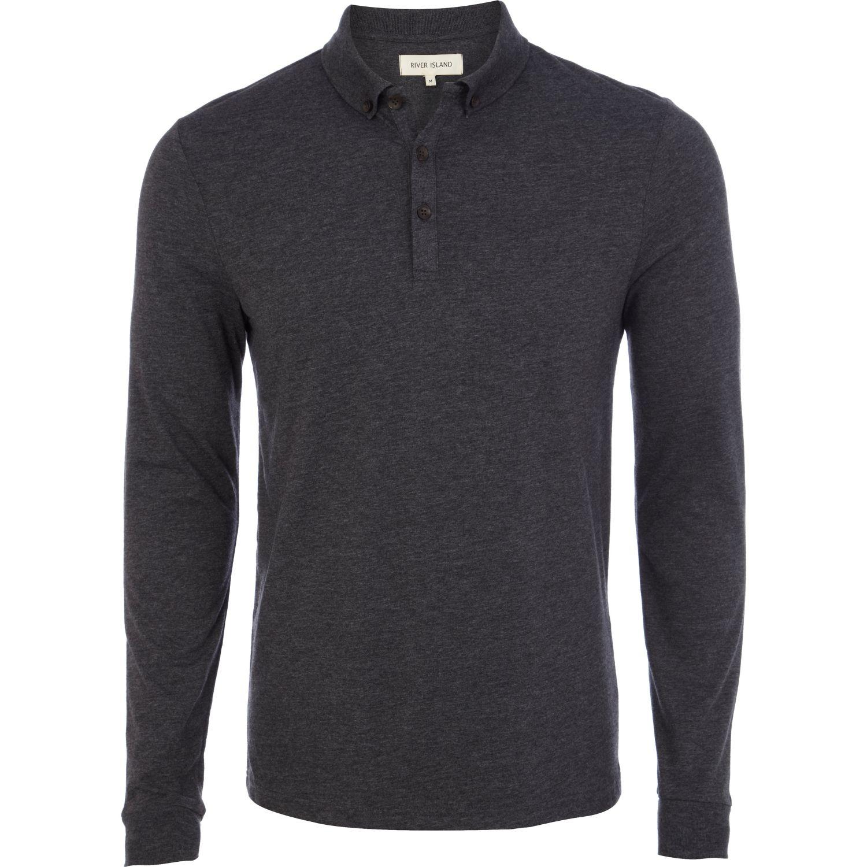 Lyst river island dark grey long sleeve polo shirt in for Grey long sleeve shirts