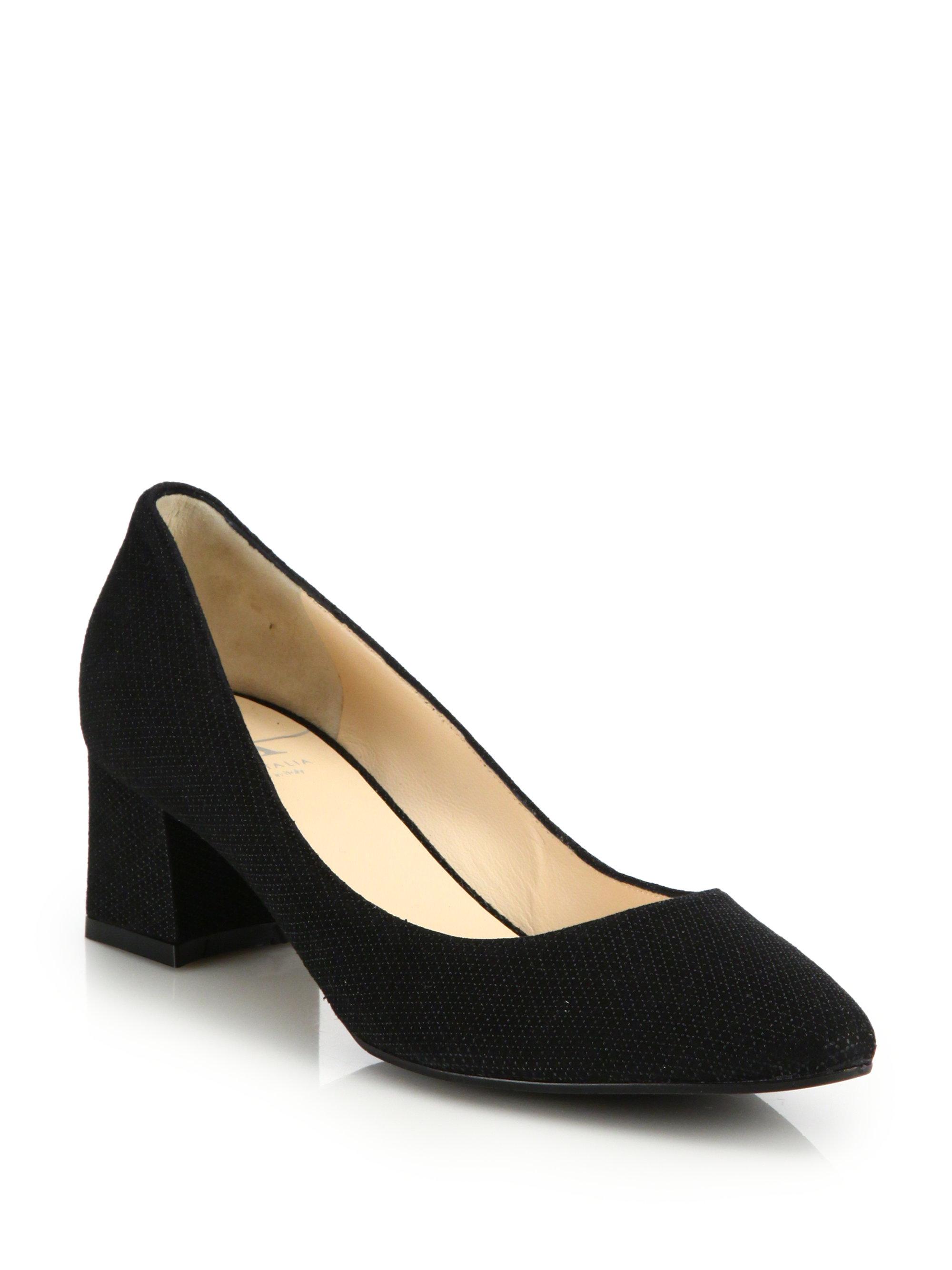 Black leather gloves asos - Aquatalia Phoebe Chunky Heel Leather Pumps In Black Lyst