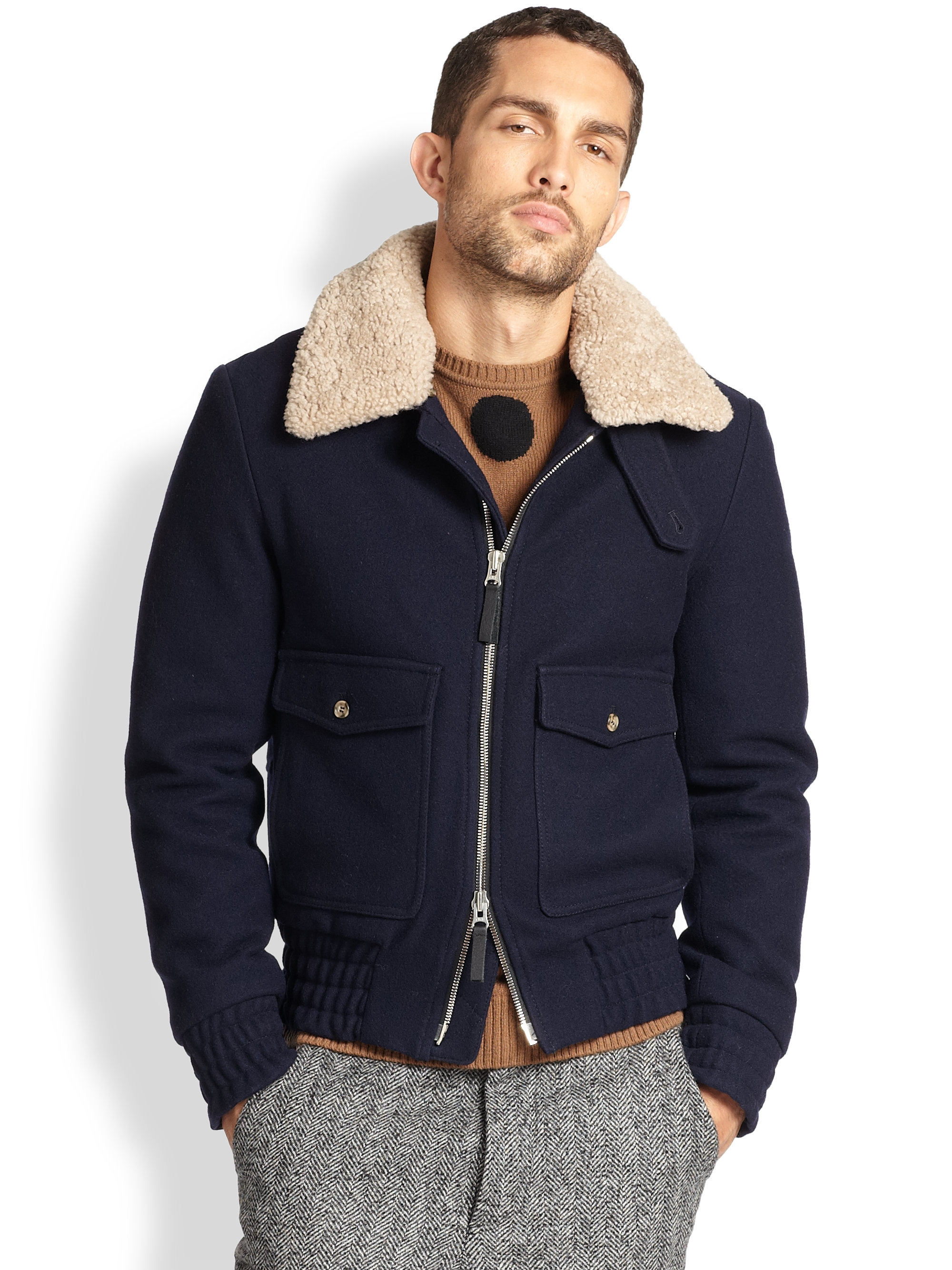 Lyst Ami Shearling Bomber Jacket In Blue For Men