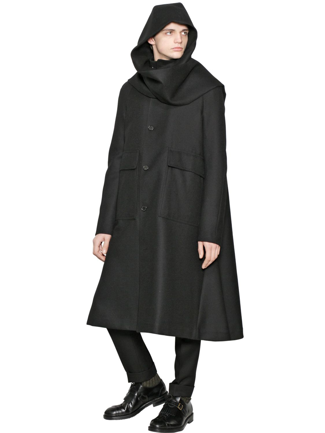 Cerruti 1881 Hooded Wool Gabardine Trench Coat in Black for Men | Lyst