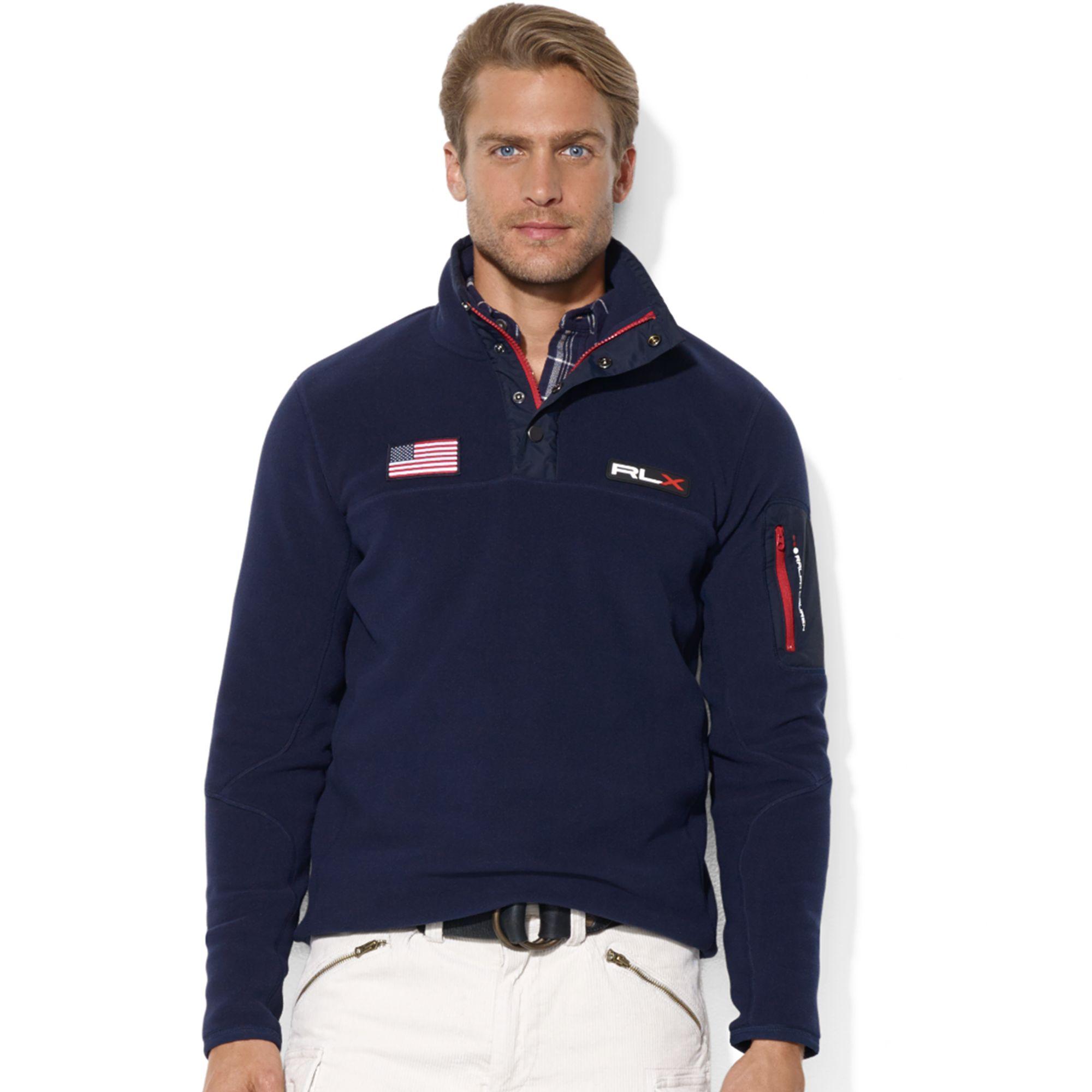 Ralph Lauren - Ralph Lauren Mens Fleece Mock Neck Jacket