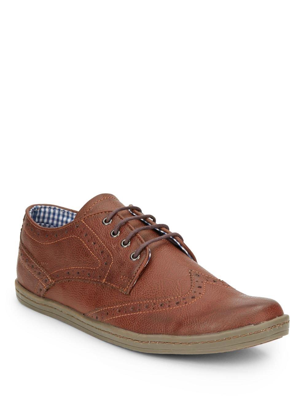 Ben Sherman Nick Faux Leather Brogue Sneakers In Cognac