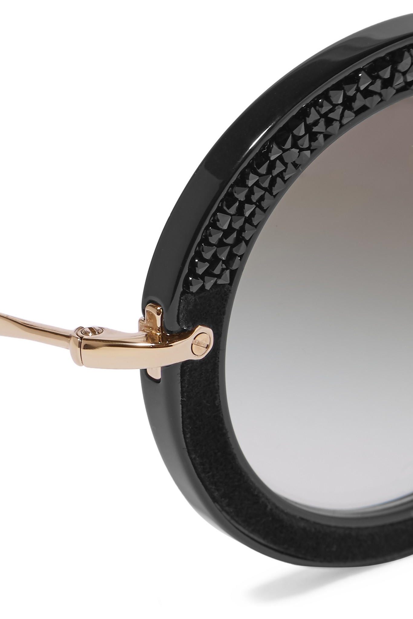 Miu Miu Round-frame Crystal-embellished Acetate in Black