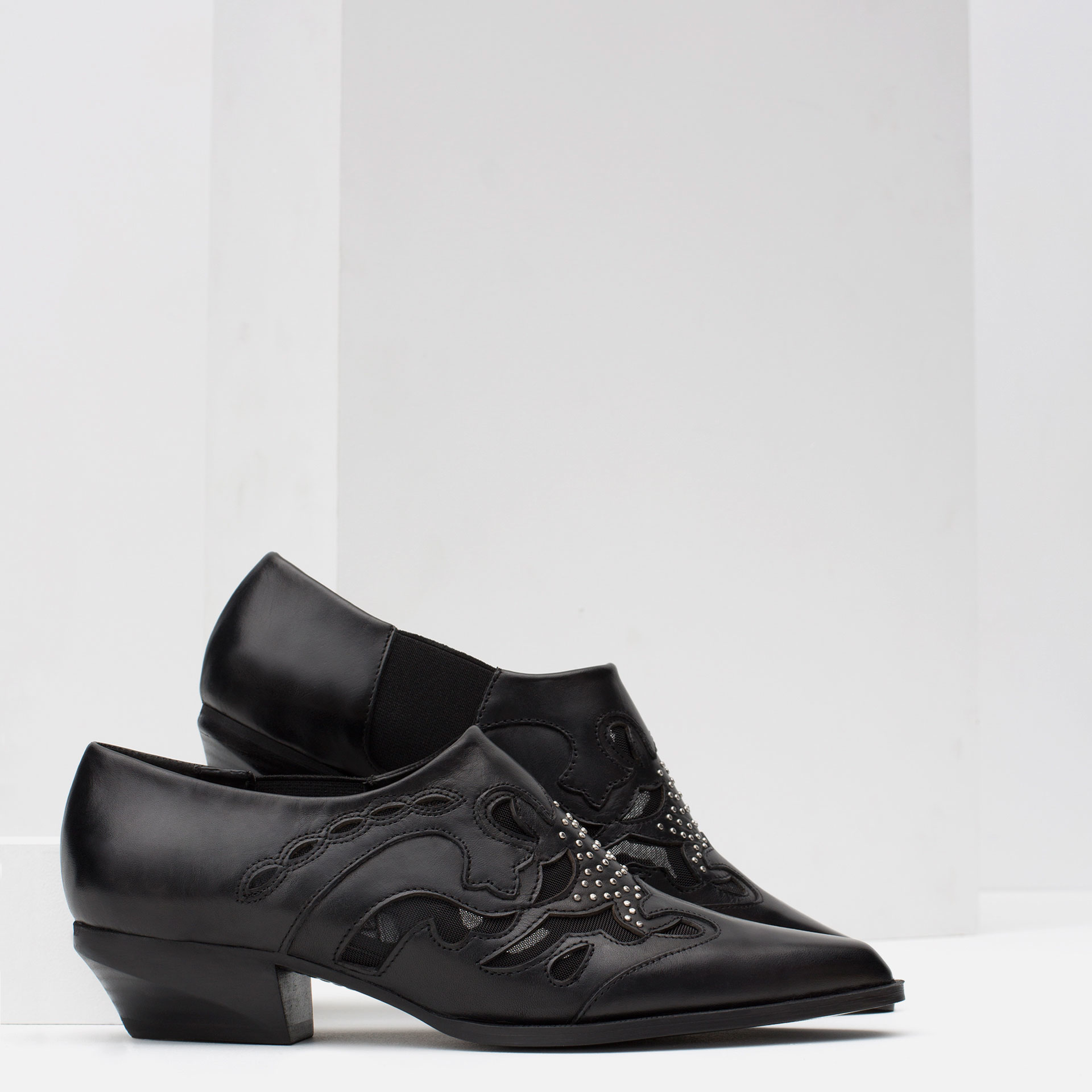 Zara Flat Leather Ankle Boots With Open-work Detail in Black | Lyst