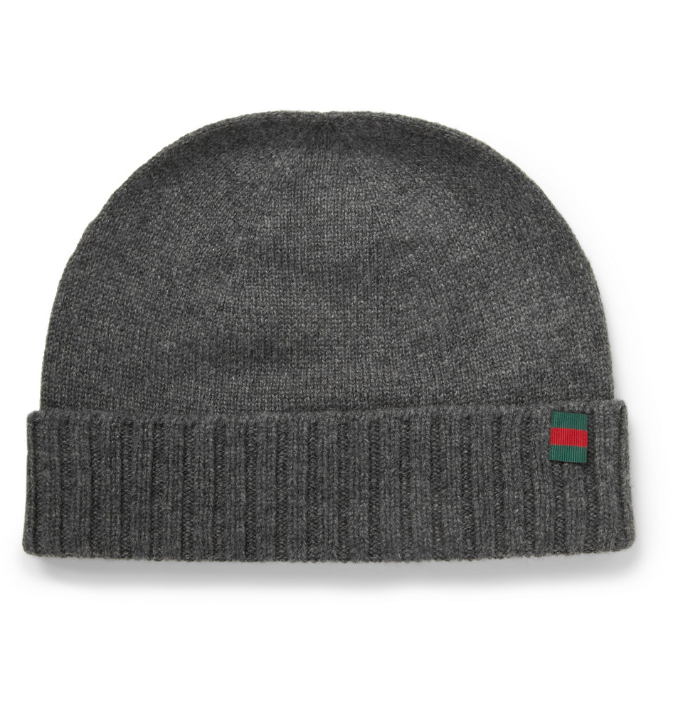Lyst Gucci Knitted Cashmere Beanie Hat In Gray For Men