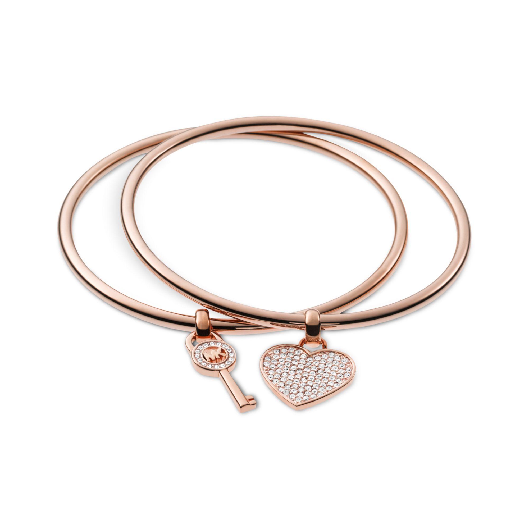 Michael kors Silvertone Heart and Key Charm Bangle Bracelets in