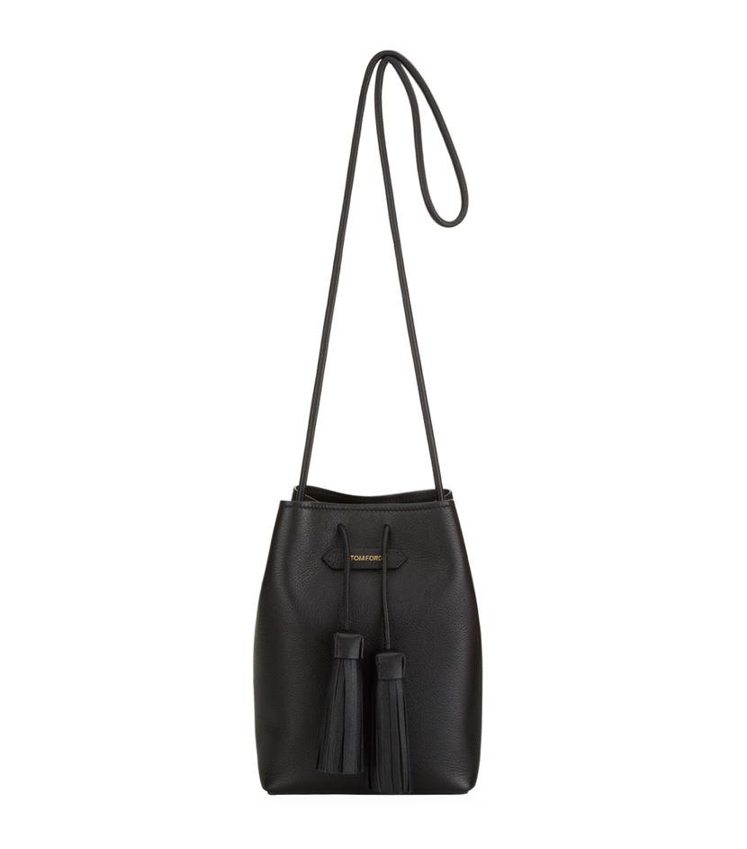 Tom Ford Small Tassel Bucket Bag in Black - Lyst b33d19dea284