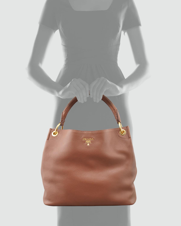 prada black bag price - Prada Daino Woven-Handle Hobo Bag in Brown | Lyst