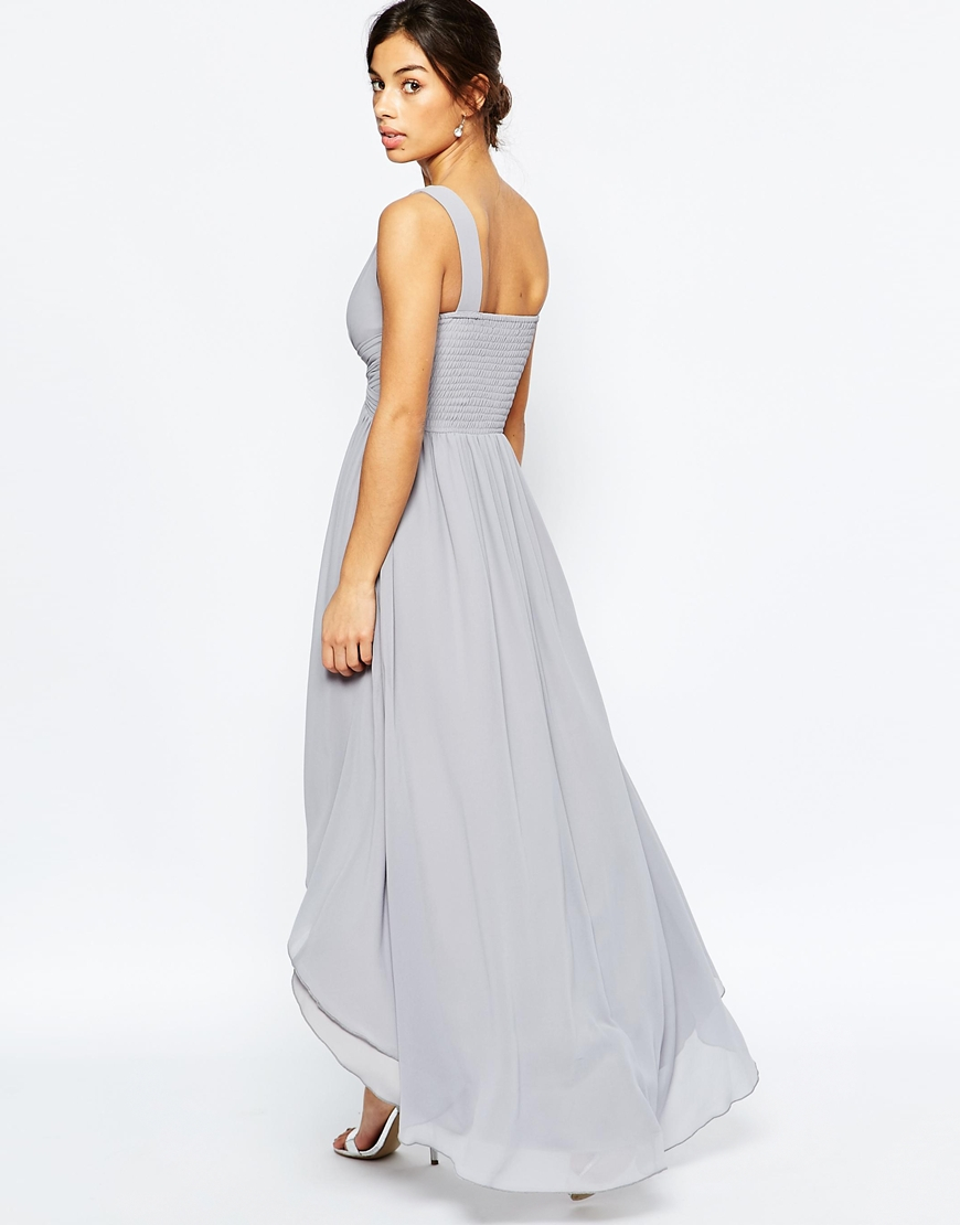 a70fe21f0a Little Mistress Maxi Dress With Embellished Mesh Insert in Gray - Lyst