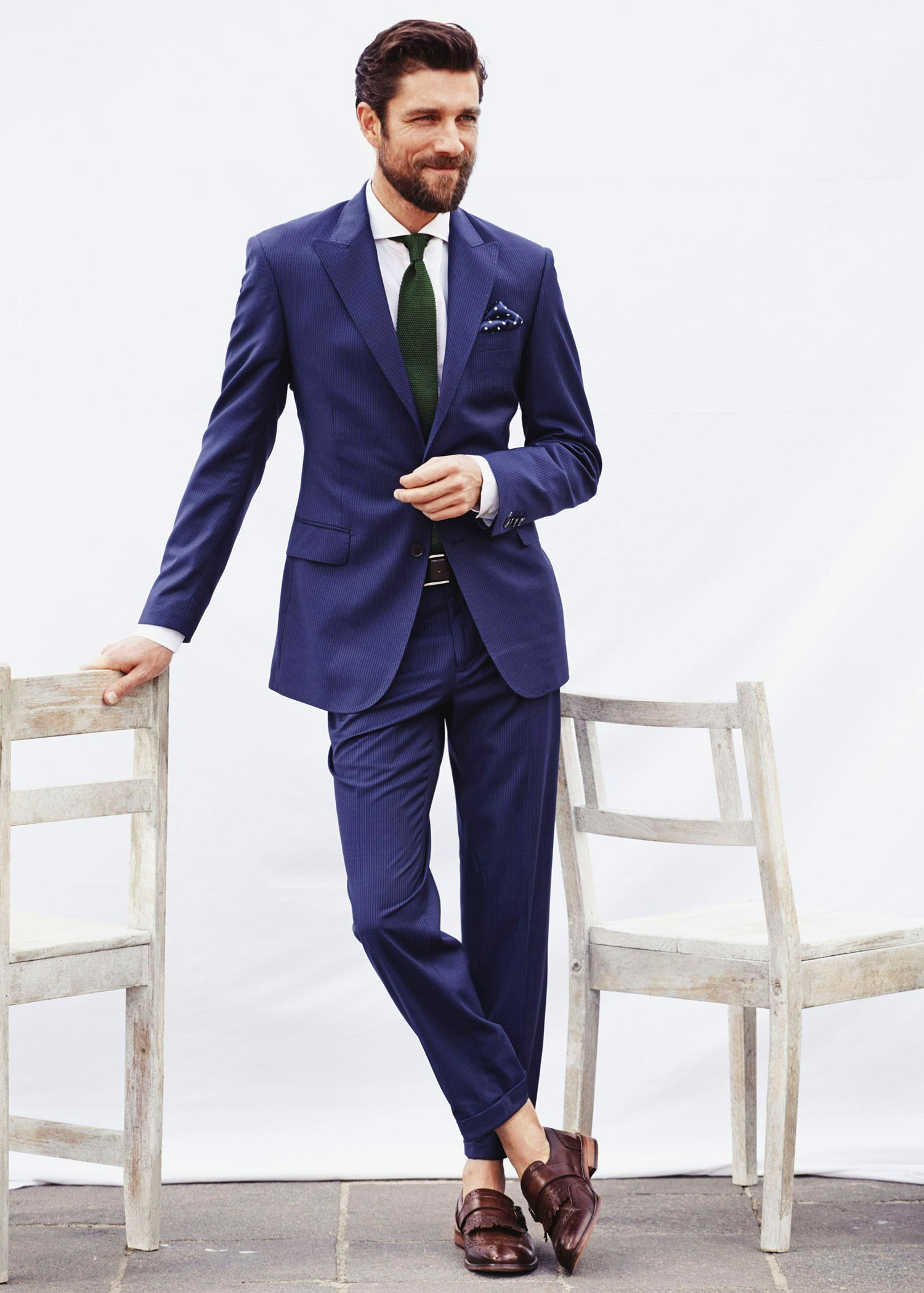 Mango Pinstripe Suit Blazer in Blue for Men | Lyst